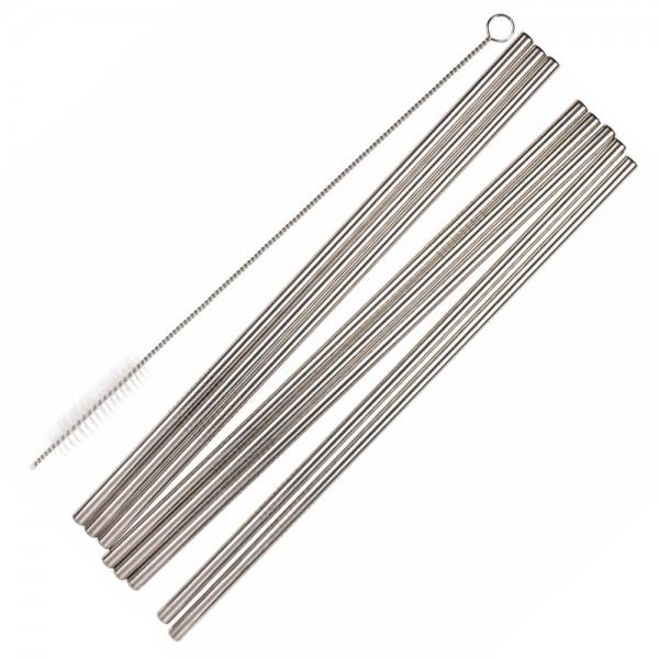 Metall Trinkhalme mit Reinigungsbürste (8 Stück)